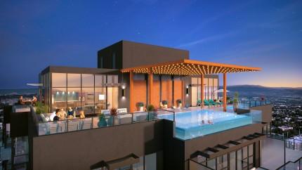 Rooftop pool, views of Okanagan Lake