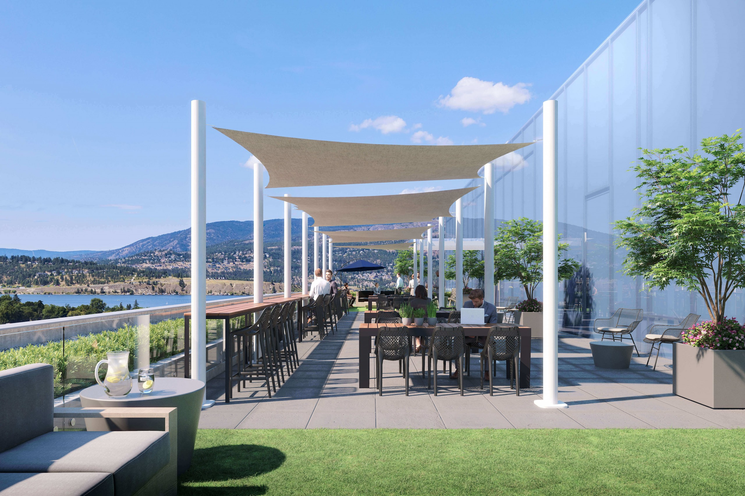 rooftop office space overlooking lake and mountains